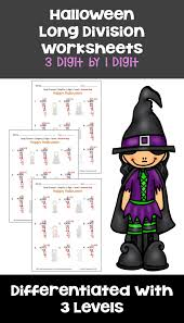 halloween math long division worksheets 3 digit by 1 digit