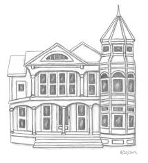 drawn house victorian architecture pencil and in color drawn