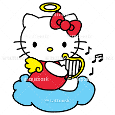 kitty angel tattoo design cute cartoon cat clipart