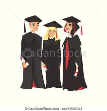 college graduation gown three college graduates in graduation cap and gown of