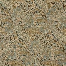 tan beige brown teal floral paisley indoor outdoor upholstery