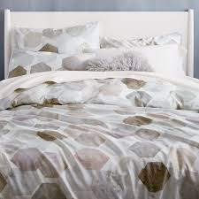 Duvet Cove 400 Thread Count Organic Geo Sateen Duvet Cover Shams West Elm