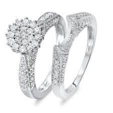 wedding rings sets for women 3 4 carat diamond bridal wedding ring set 14k white gold