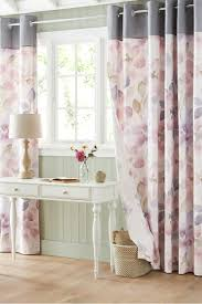 buy mauve watercolour bloom eyelet curtains from the next uk