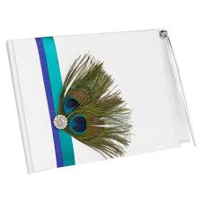 wedding guest book and pen peacock plume wedding collection guest book with pen target