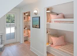 Built In Bunk Bed Built In Bunk Bed Ideas Bedroom Beach Style With Pink Sheets