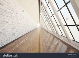 clean corridor interior dark wooden floor stock illustration