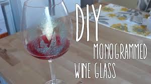diy monogram wine glasses diy glitter monogrammed wine glass