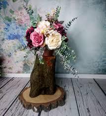 wedding flowers eucalyptus wedding floral arrangement vintage fall wedding burgundy blush