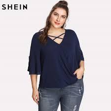 criss cross blouse shein navy blue plus size blouse casual crisscross v neck