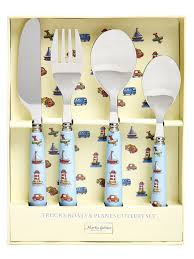 childrens kitchen knives 4 cutlery set trucks boats planes