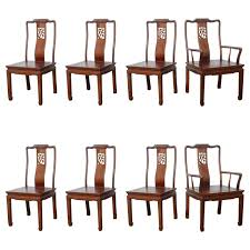 set of eight vintage dining chairs in the asian antique style at
