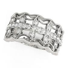 diamond studded studded four leaf clover motif ring in 14k white gold 1 4 ct tw