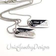 personalized necklaces for couples his and hers personalized couples mini dog tag king