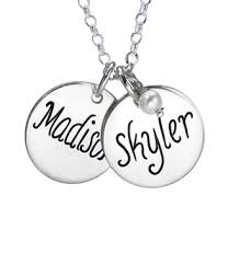 Personalized Disc Necklace Personalized Mommy Jewelry Disc Necklaces Keepsake Hand Stamped