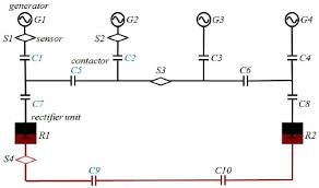 a single line diagram of a larger circuit with ac and dc components