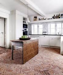 interior brick flooring with wax in the kitchen home interiors
