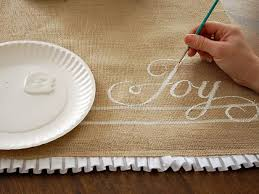 burlap christmas table runner how to make a hand painted burlap table runner paint burlap