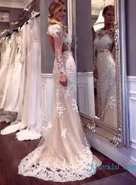 cut out open back lace sheath wedding dress with sleeves