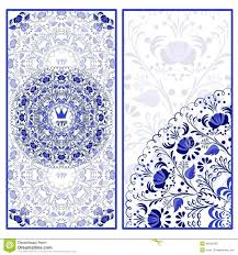 beautiful pattern set of invitations cards with a beautiful pattern in gzhel style