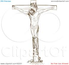 royalty free rf clipart illustration of a brown sketch of jesus