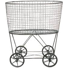Ideas For Laundry Carts On Wheels Design Great Vintage Style Wire Laundry Basket With Wheels A Cottage In