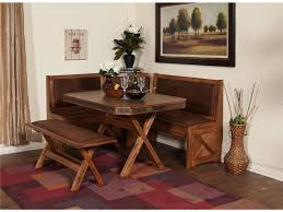 furniture brown wooden breakfast nook table with l shape bench