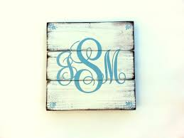 monogram painted distressed wood plank blue letters with