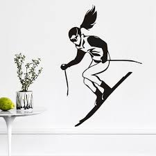 Sports Decals For Kids Rooms by Aliexpress Com Buy Ehome A Skiing Wall Stickers For Kids