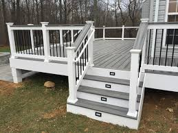 Porch Steps Handrail Trex Deck With Vinyl Rails And Steps In Purcellville Va Decks
