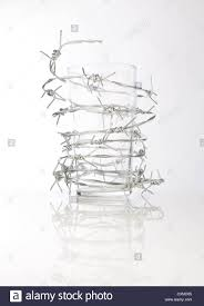 barbed wire around a pint glass stock photo royalty free image