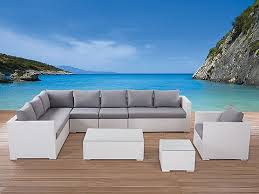 white wicker sectional lounge l shape outdoor furniture set xxl