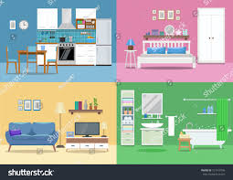 house interior kitchen living room bedroom stock vector 727419796 house interior kitchen living room bedroom bathroom flat style vector
