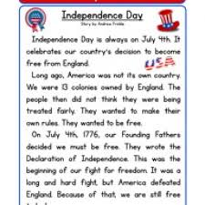 independence day reading comprehension worksheet