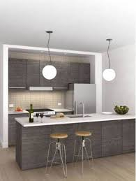 elegant grey kitchen design with two hanging lamps and bar stools