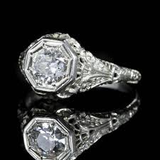 18 carat diamond ring antique deco diamond engagement ring 18 carat white gold 1 10