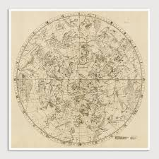 Constellations Map Constellations Antique Map Art Print Set 1729 U2013 Blue Monocle