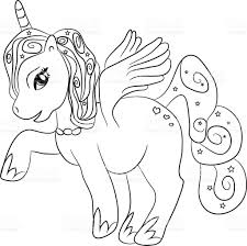 unicorn coloring page for kids stock vector art 487548716 istock