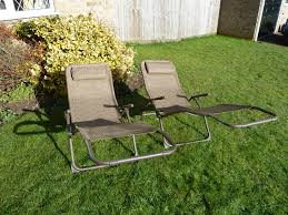 uk g set two brown garden sun lounger chairs weatherproof