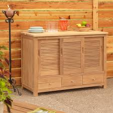 Wood Kitchen Storage Cabinets 48 Touraine Teak Outdoor Kitchen Cabinet Outdoor