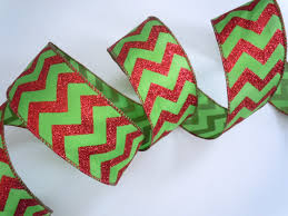 wired ribbon green chevron christmas wired ribbon glittering sparkle