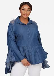 denim blouses buy plus size denim shirts and blouses stewart