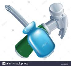 crossed hammer and screwdriver tools icon of cartoon tools crossed