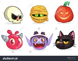 icon halloween halloween characters icon set cartoon heads stock vector 493640488