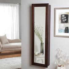 Mirror Armoire Wardrobe Wall Mounted Locking Wooden Jewelry Armoire 14 5w X 50h In