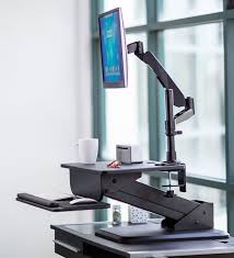 sit and stand desk converter mount it sit stand desk converter w monitor mount mi 7911
