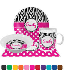 personalized dinner plate zebra print polka dots dinner set 4 pc personalized potty