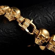 gold skull bracelet men images Vcool 316l stainless steel 22mm huge heavy solid gold men 39 s jpg