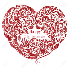 abstract floral heart creative christmas card design royalty free