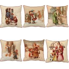 home decor pillows christmas decoration throw pillow santa surrounded by kids